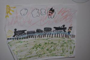 Train drawing of Charley Sanford's grandson for the assisted living senior spotlight