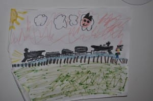 Train drawing of Charley Sanford's grandson for the assisted living senior spotlight