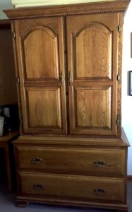 hand crafted armoire by senior resident Walker Smith