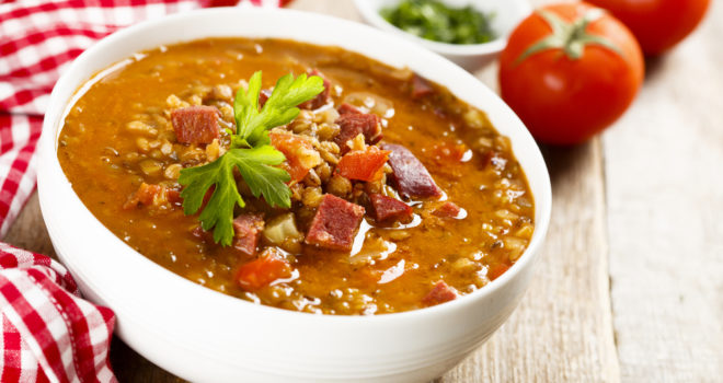 Sausage lentil soup recipe from The Inn at Belden Village