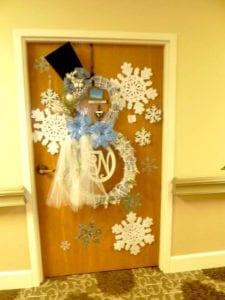 Senior resident Virginia Nash's decorated door