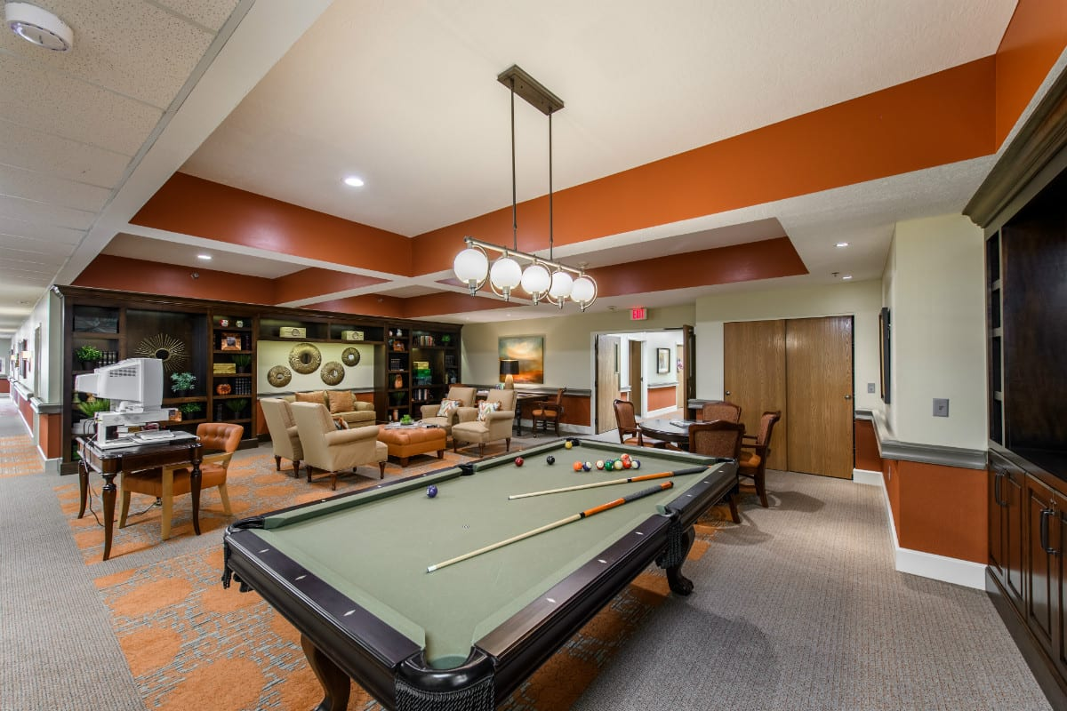 Billiards Room at The Inn at Belden Village Senior Living