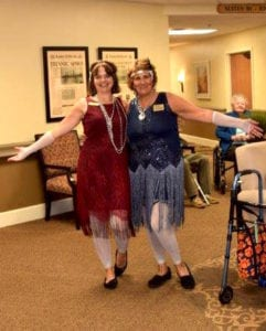 Assisted living staff at picnic party